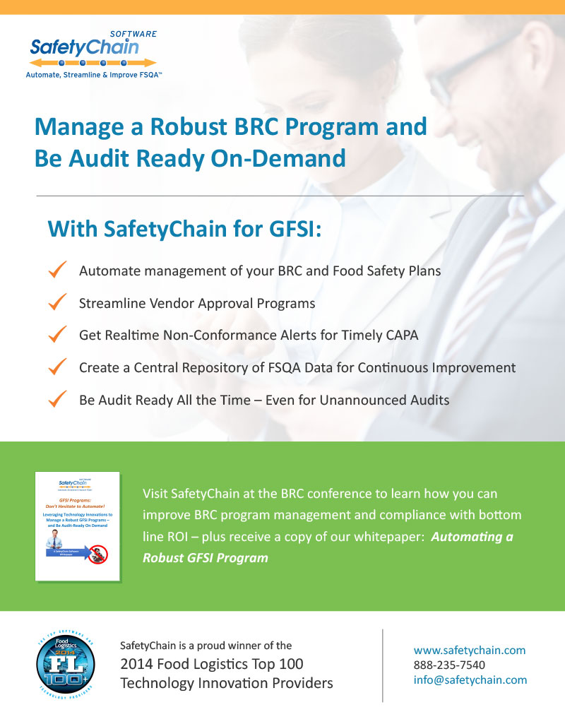 SafetyChain Software BRC Ad 2015